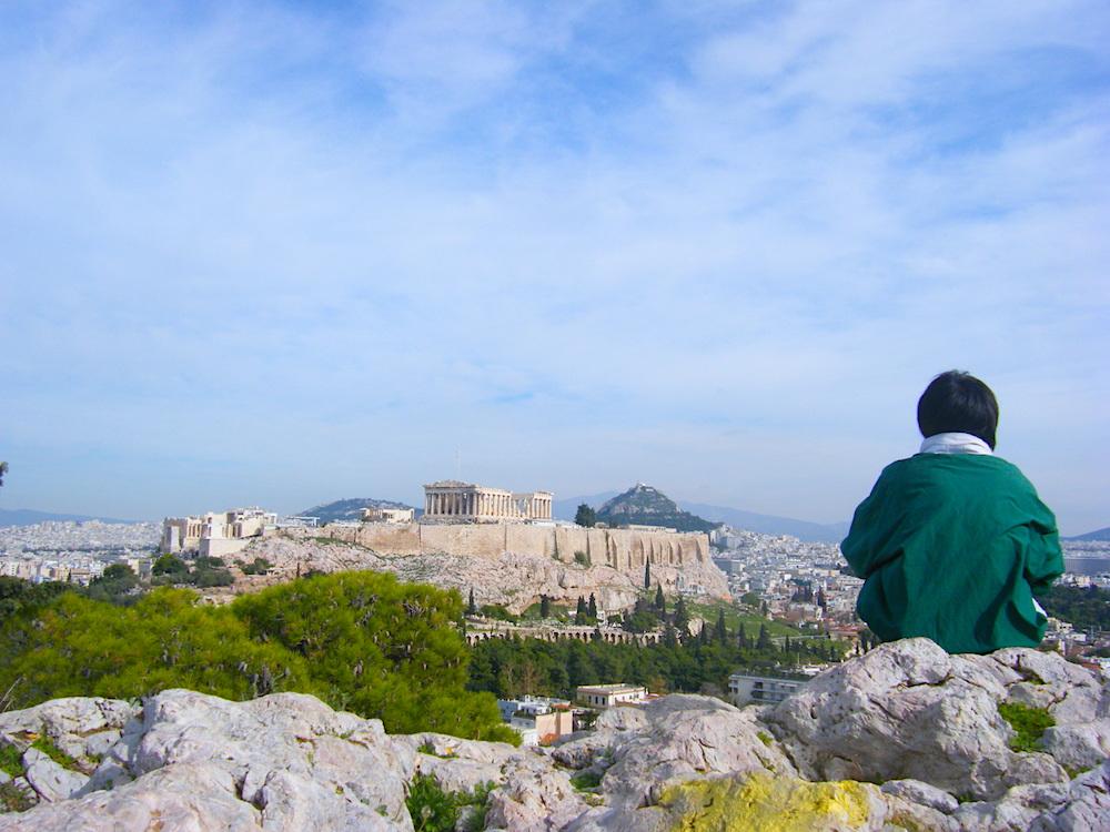 ギリシャ・パルテノン神殿と自分の写真