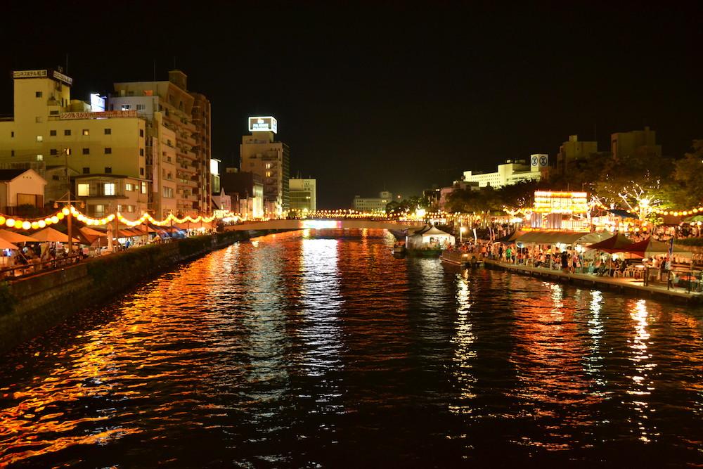 徳島阿波おどり(新町川と夜景)の写真