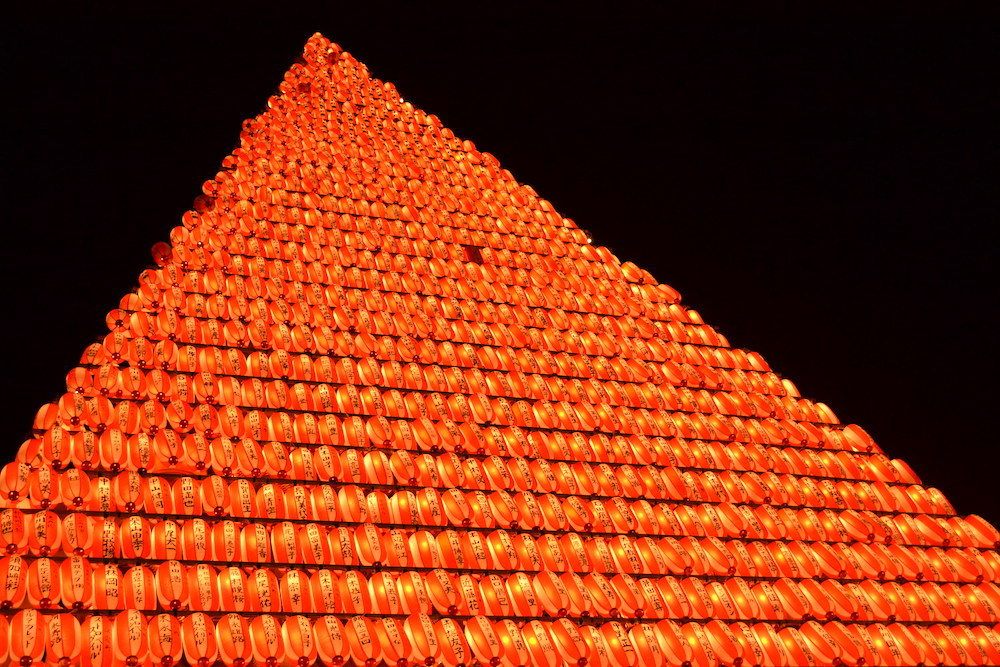 長崎県佐世保市江迎千灯籠まつり(灯籠タワーアップ)の写真
