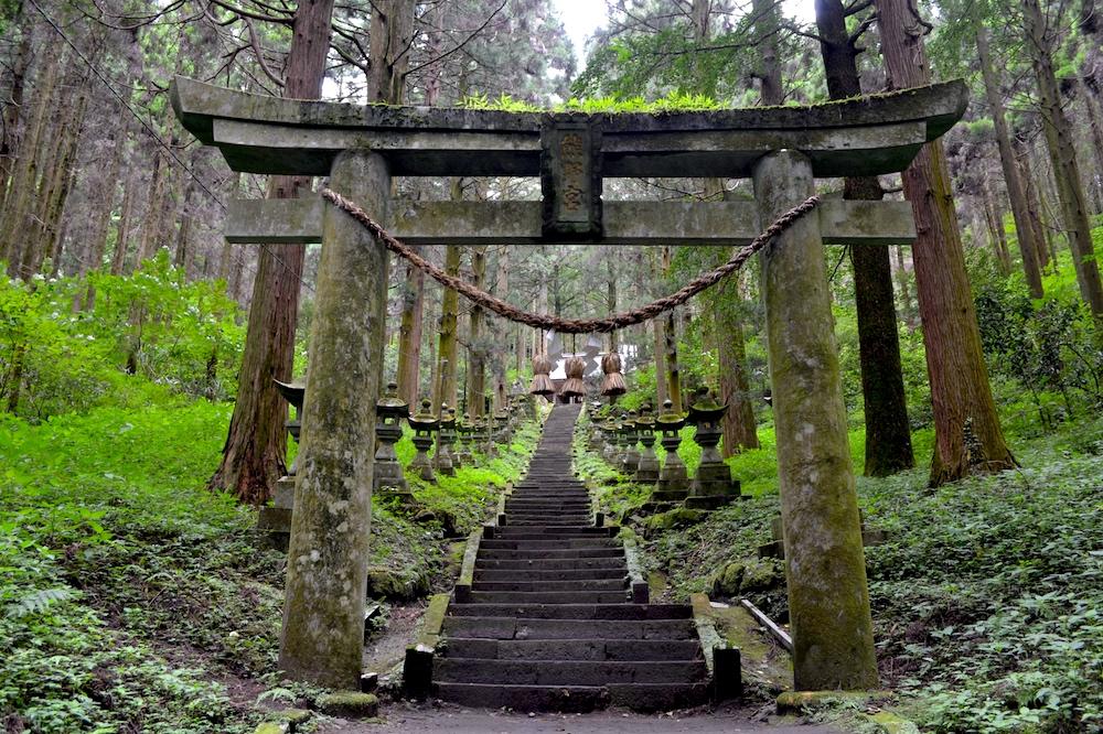 熊本県阿蘇|上色見熊野座神社の鳥居の写真