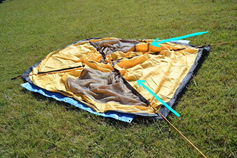GeerTop2人用テントの貼り方(ポールを2本通す)の写真
