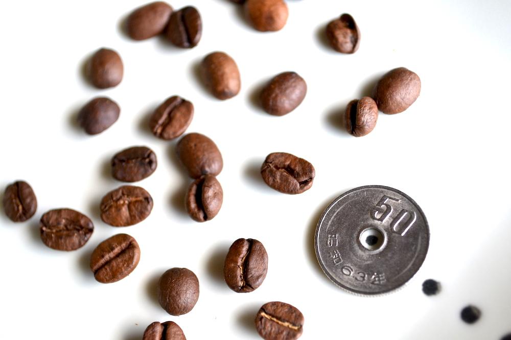 コーヒー豆と50円の写真