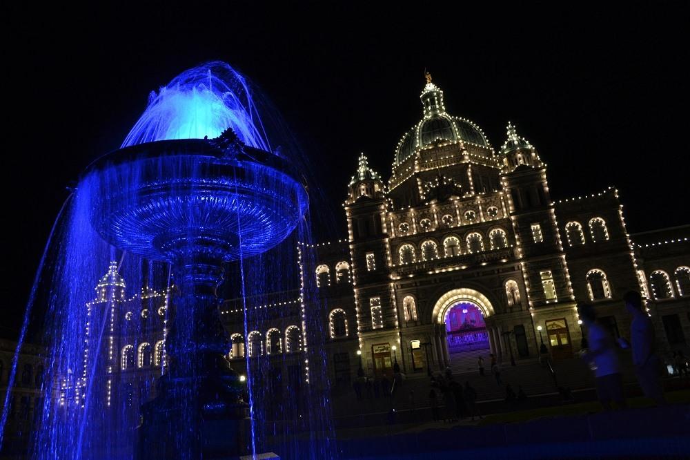 州議事堂と噴水ライトアップの写真