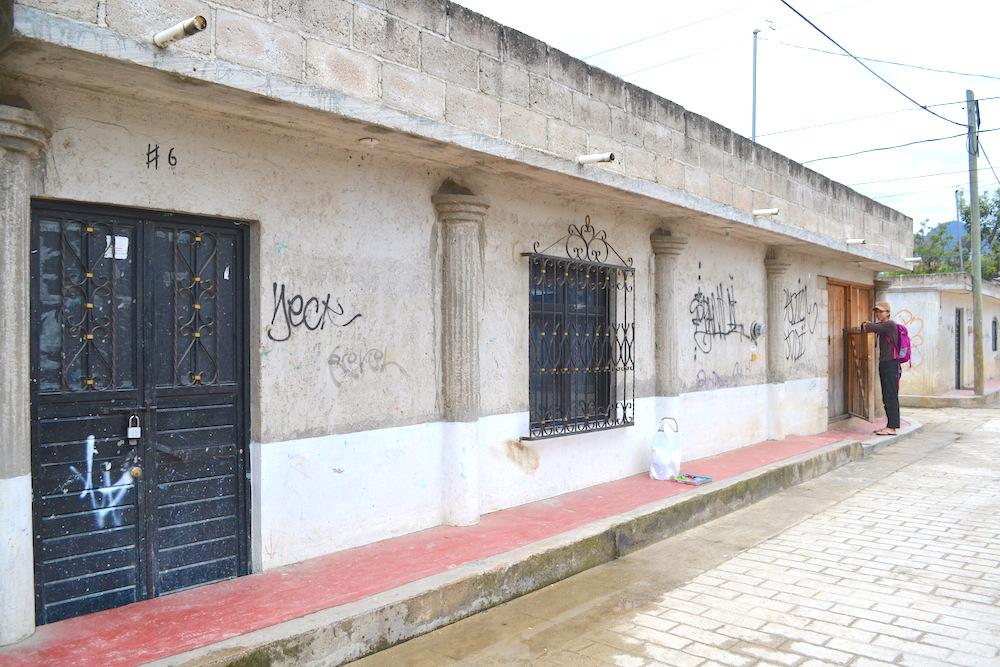 河野ルルちゃん|メキシコで壁画制作(無地の壁)の写真