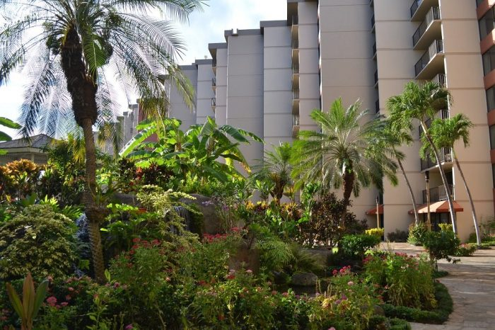 アストンカアナパリショアズホテルの中庭の写真