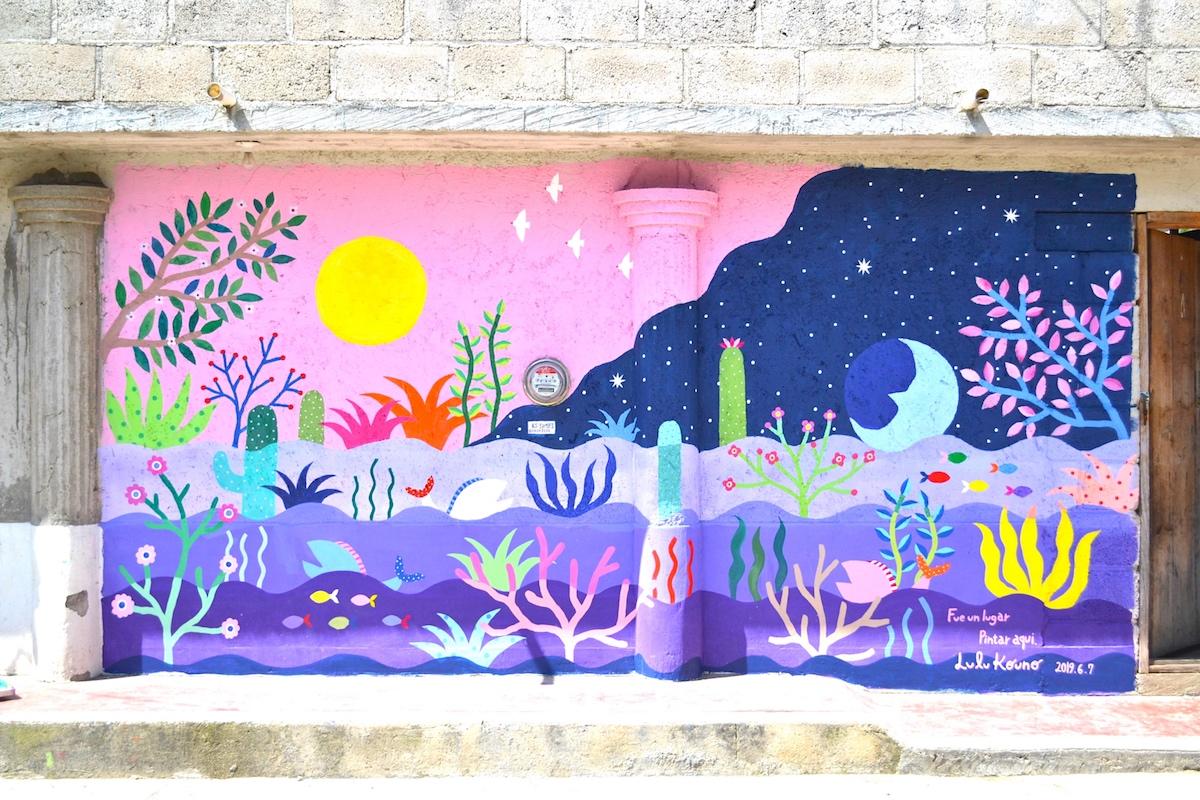 河野ルル|メキシコで壁画制作(完成)の写真