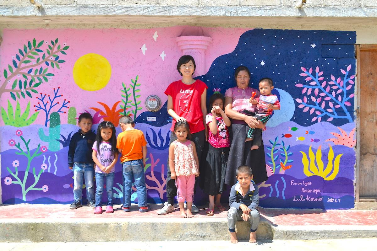 河野ルル|メキシコで壁画制作(集合写真)の写真