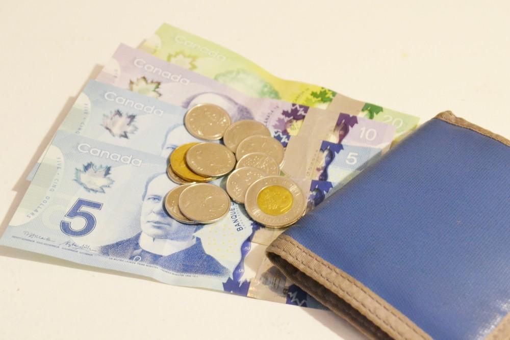 カナダの通貨・ドル紙幣と硬貨とお財布の写真