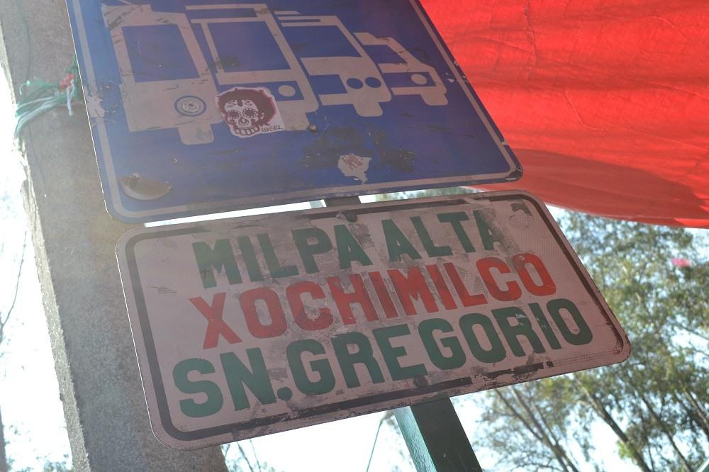 ソチミルコ行きバス停の写真