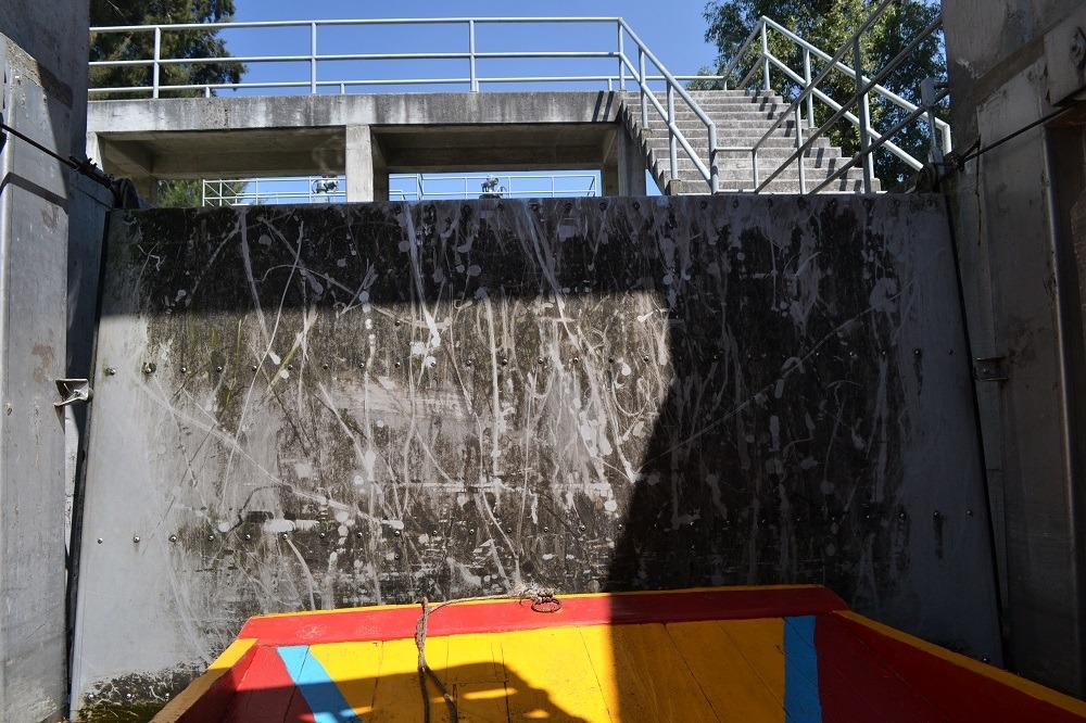 ソチミルコ運河の水位調整門の写真