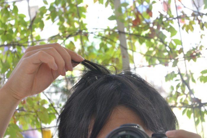 メキシコ滞在ベトベトの髪の毛の写真