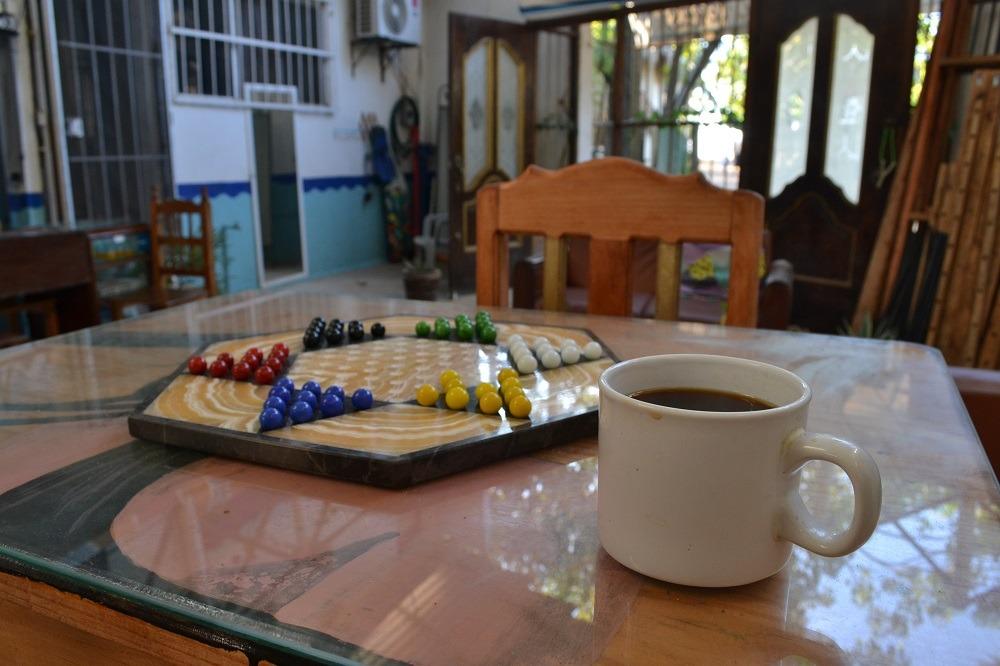 メキシコ・シポリテで珈琲飲んでる写真