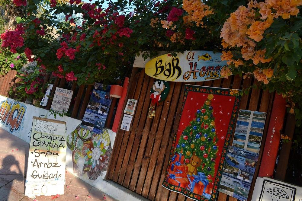 メキシコ・シポリテのレストランの入り口(クリスマス仕様)の写真