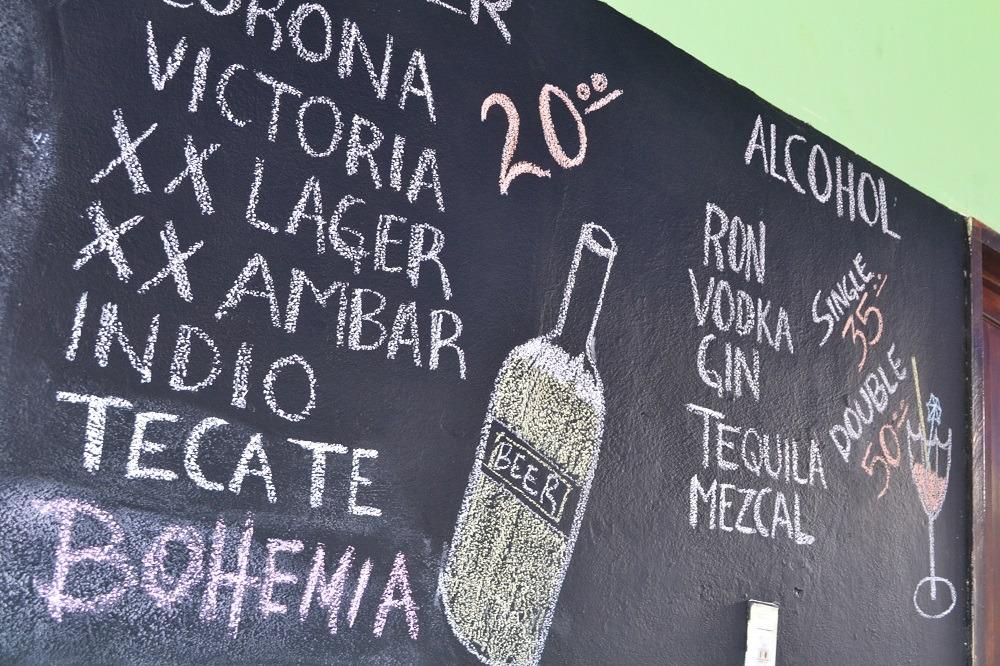 メキシコ・シポリテのバーのメニューの写真