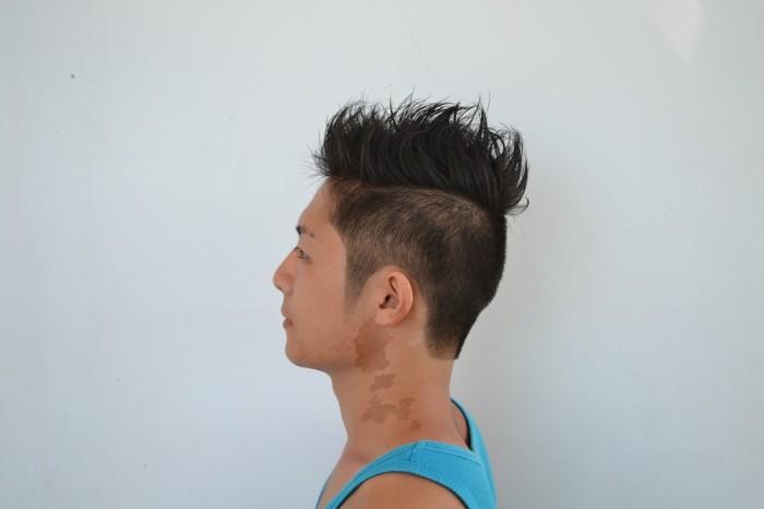 フィリピン流行ヘアやってみた横からの写真