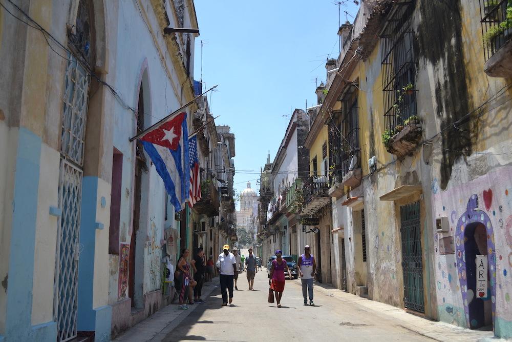 キューバ・ハバナで見かけたアメリカ星条旗の写真