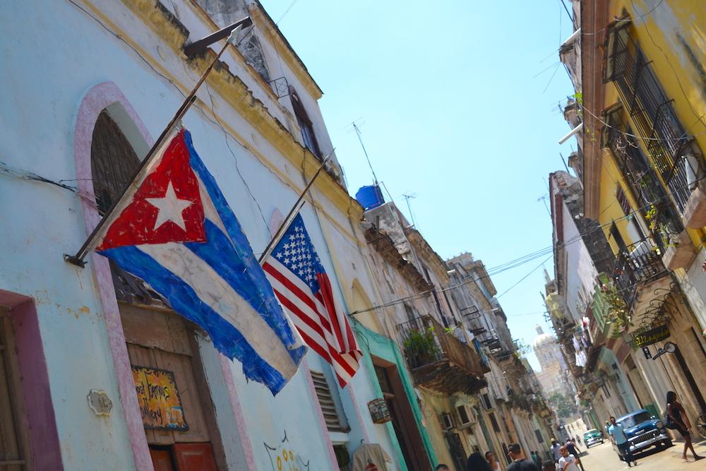 キューバ・ハバナで見かけたアメリカ星条旗(アップ)の写真