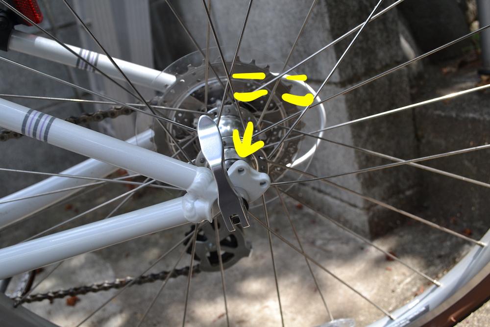 クロスバイクのダボ穴(後輪)の写真