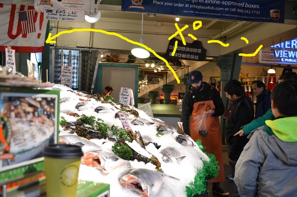 シアトルパイクプレイスマーケットの魚屋さんの写真
