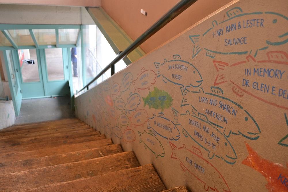 シアトルパイクプレイスマーケット(魚のイラスト階段)の写真