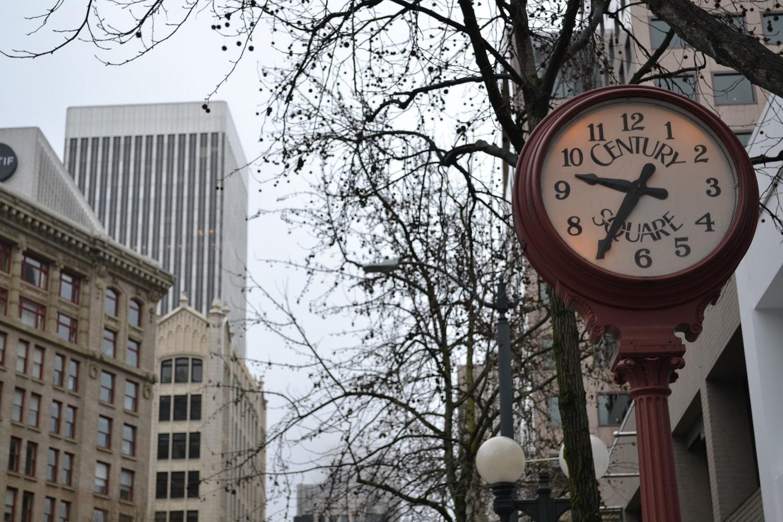 シアトルの町並み(時計)の写真