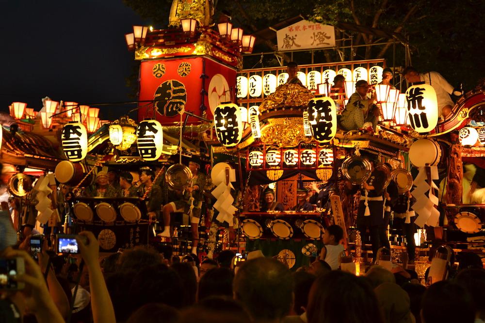 埼玉|八坂神社・熊谷うちわ祭の山車(太鼓隊)の写真