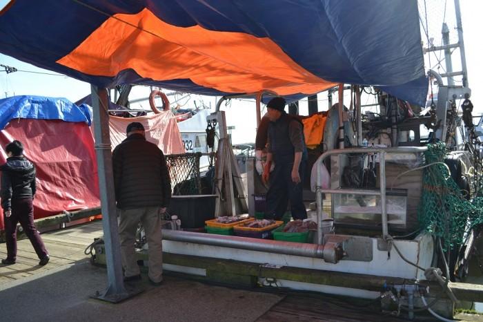 スティーブストンの船上魚屋さんの写真