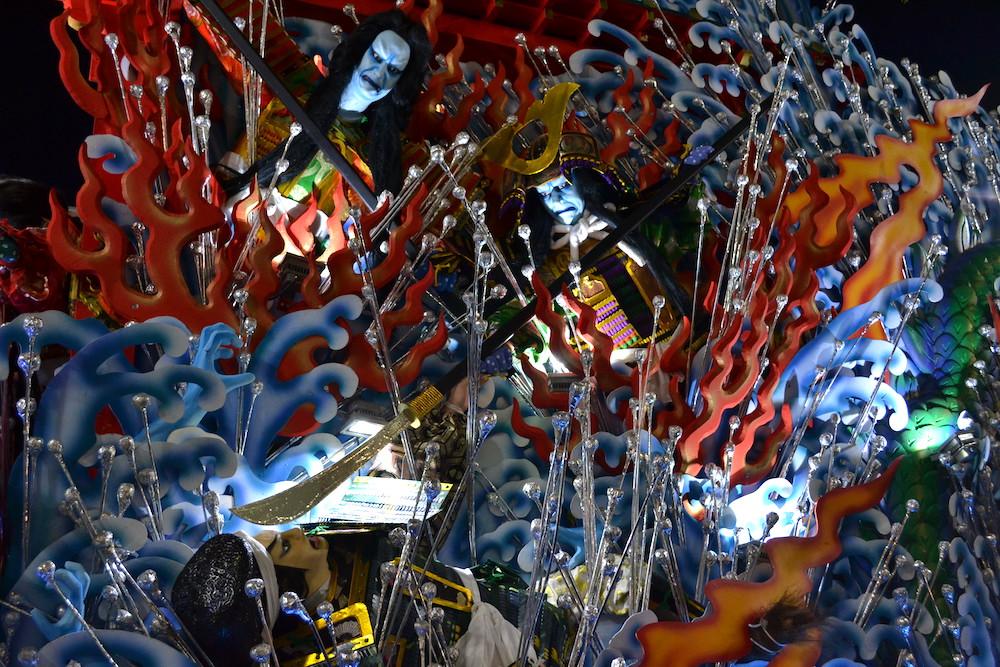 青森八戸三社大祭の山車(恐いやつのアップ)の写真