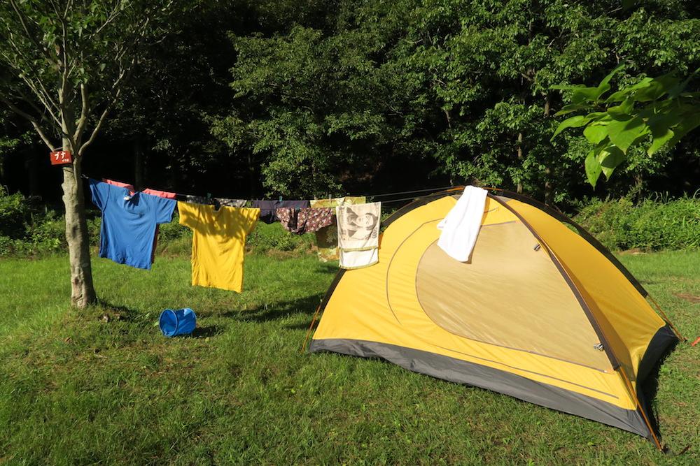 自転車日本一周:仙台水の森公園キャンプ場で洗濯物干しの写真