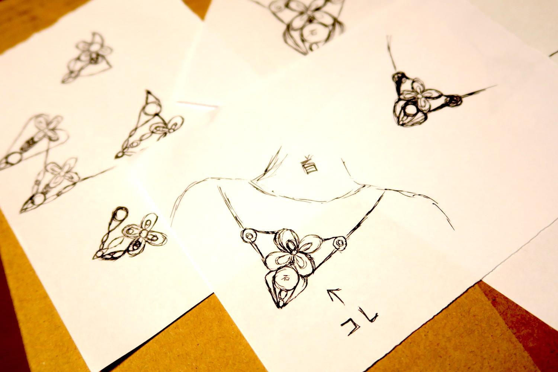マクラメペンダントのデザイン(自然と幸運)の写真