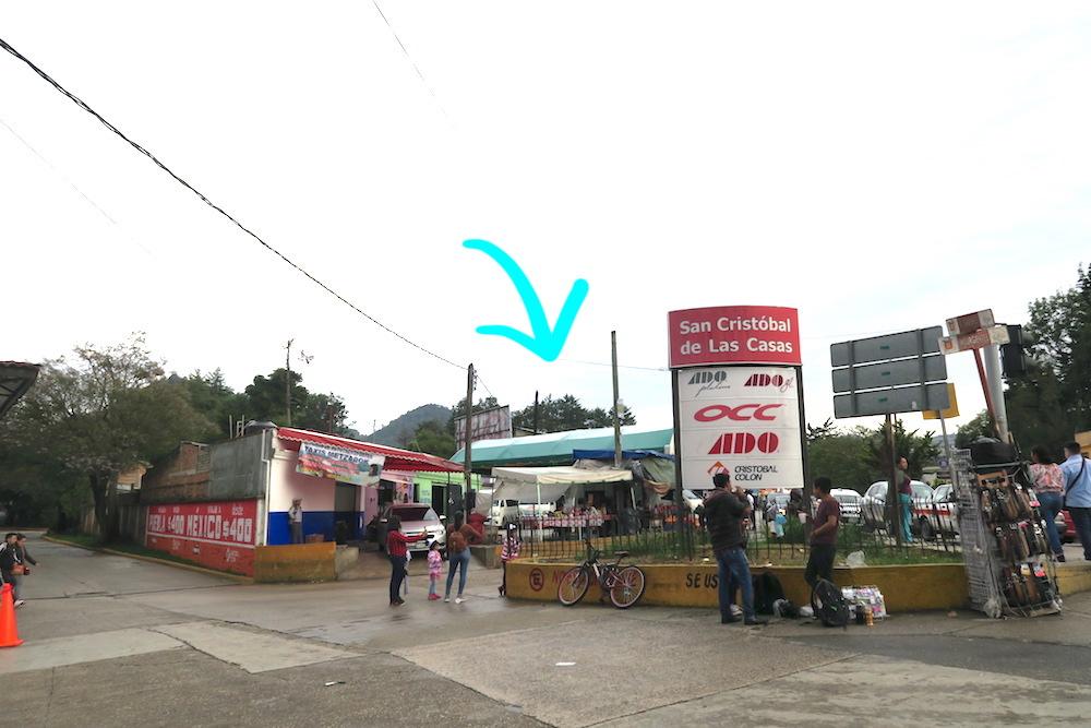 サンクリストバル・デ・ラス・カサスのコレクティーボ乗り場(OCC横)の写真