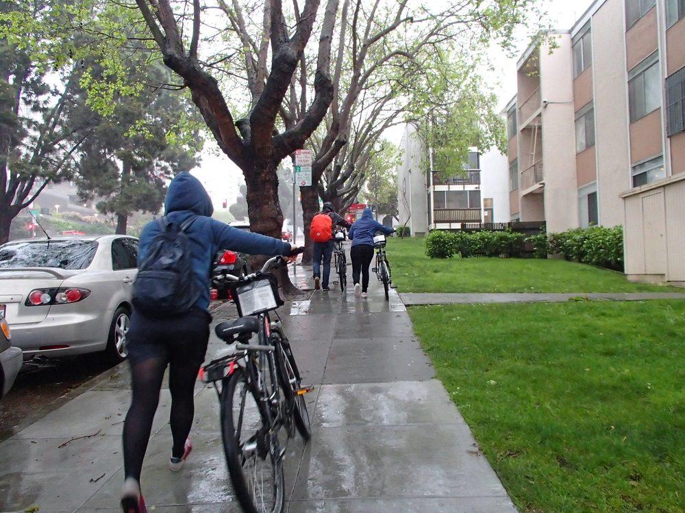 土砂降りサイクリングの写真