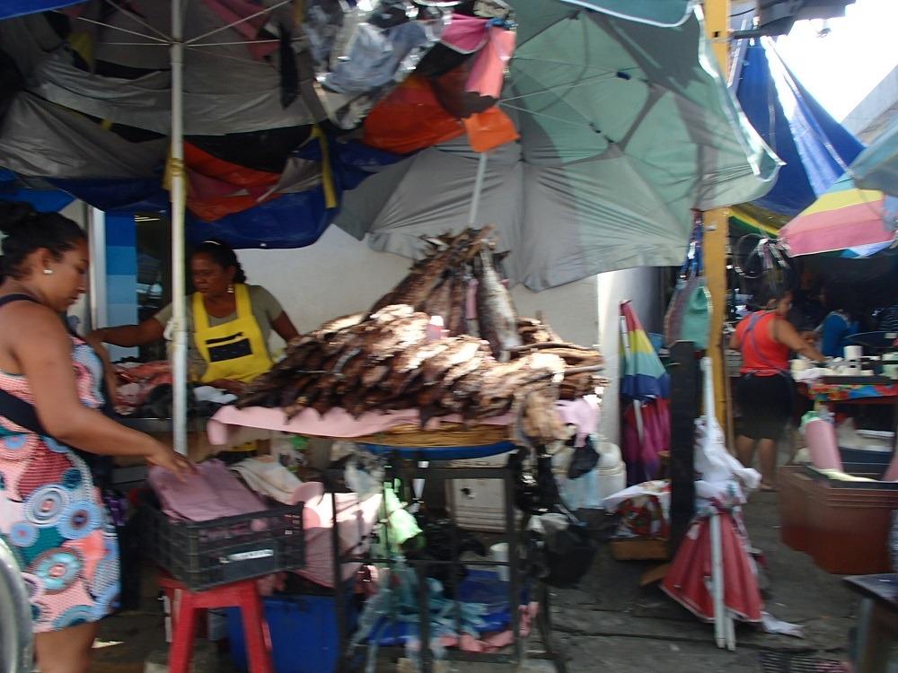 メキシコ・ポチュトラの魚屋の写真